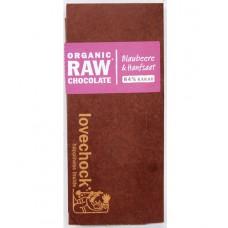 Chocolat cru aux myrtilles et graines de chanvre / Organic Raw chocolate Blaubeere & Hanfsaat, Lovecock, 70g