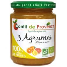 Confiture 3 agrumes sans sucre ajouté, Confit de Provence, 290g